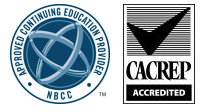 "Approved Continuing Education Provider badge on the National Board for Certified Counselors logo  and a Council for Accreditation of Counseling & Related Educational Programs logo with ""Acrredited"" badge"