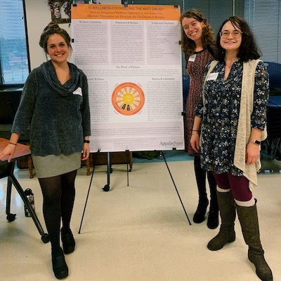 students presenting research